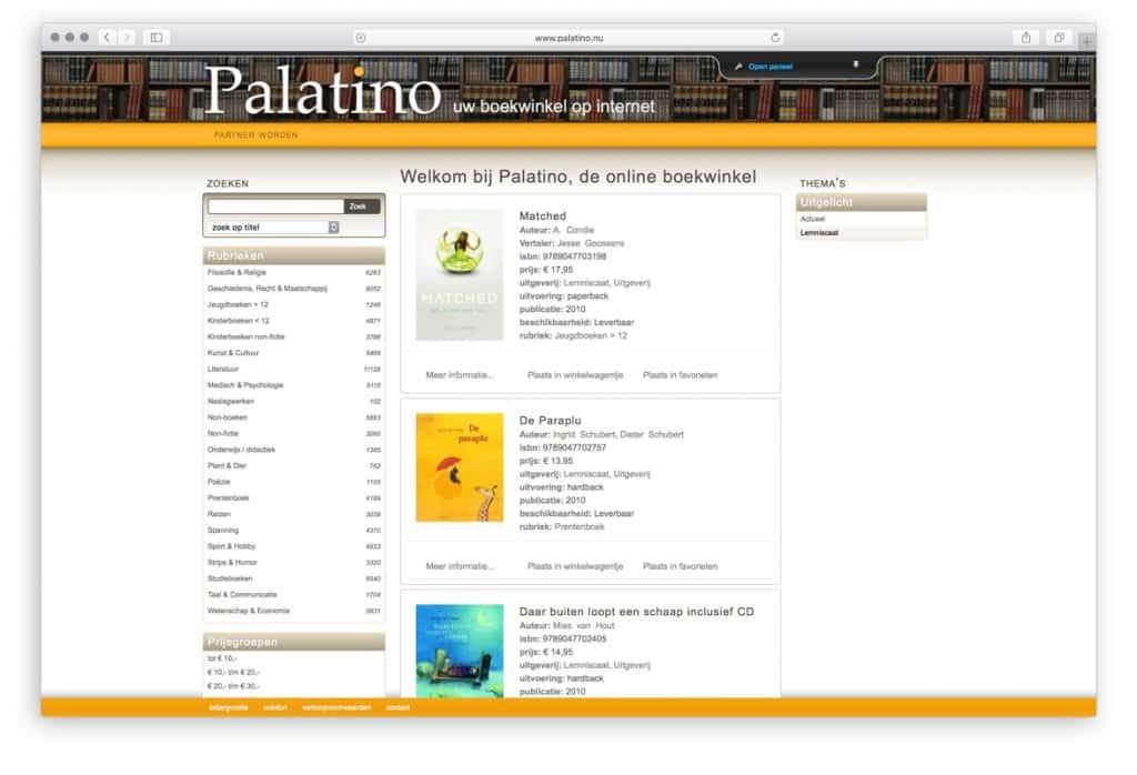Palatino webshop